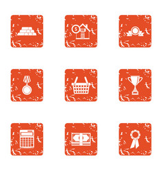 Prize money icons set grunge style vector