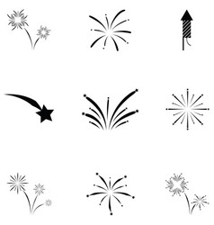 pyrotechnic icon set vector image