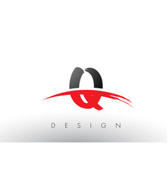 Q brush logo letters with red and black swoosh vector