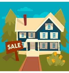 Real Estate Banner House for Sale in flat style vector image