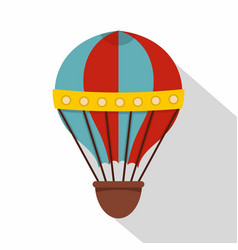 Red and blue hot air striped balloon icon vector