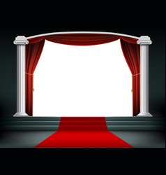 Red carpet on the podium with steps vector