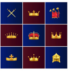 Royal gold medieval attributes set vector