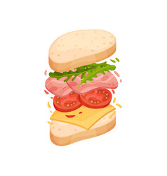 sandwich on an oval piece loaf with ham and vector image