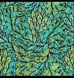 Seamless floral green hand drawn doodle pattern vector