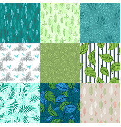 Seamless pattern nature leaves vector