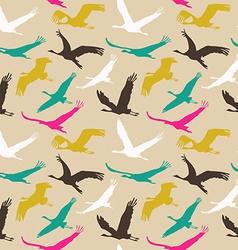 Seamless pattern of flying birds vector