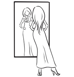 Series Shopping Young girl tries on a dress vector