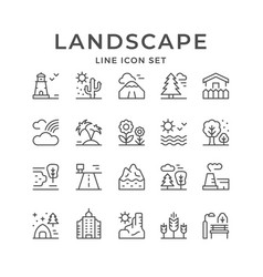 set line outline icons landscape vector image