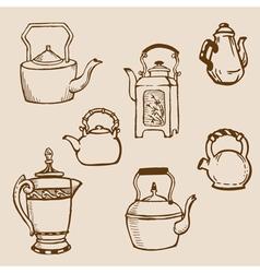 set teapot doodles vector image