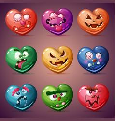Set valentine heart love vector