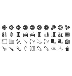 Sewing and handcraft elements icon solid design vector