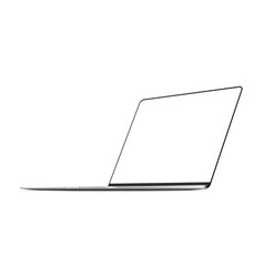 Silver frameless laptop mockup vector