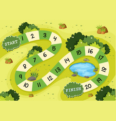 Simple green nature board game template vector