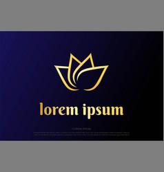 Simple minimalist elegant luxury golden lotus vector