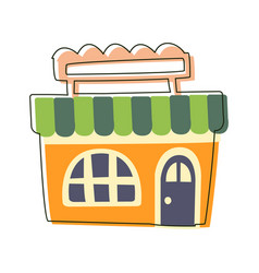 Small orange grocery shop cute fairy tale city vector