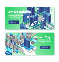 smart city and building banner template set vector image
