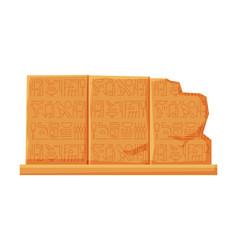 stone board with egyptian hieroglyphics clay vector image