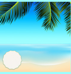 Summer tropical scene with copy space in a corner vector