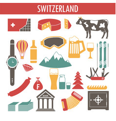 Switzerland sightseeing landmarks and famous vector