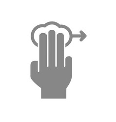 tap with three fingers and swipe right grey icon vector image