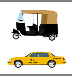 taxi cab icon set yellow taxi and indian tuk-tuk vector image