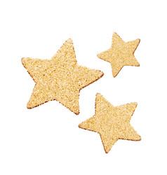 three gold glitter stars golden sparkle vector image