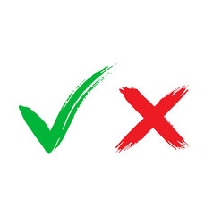 Tick and cross brush signs green checkmark ok and vector