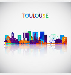 toulouse skyline silhouette in colorful geometric vector image