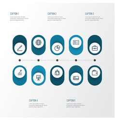 trade outline icons set collection of circle vector image