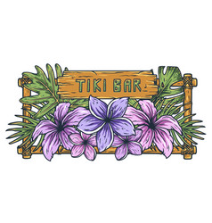 tropic hawaii exotic plant for surfing tiki bar vector image