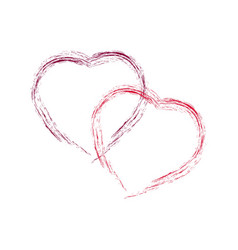 two red heart on white background sign symbol vector image