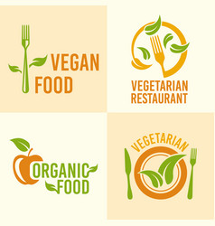 vegetarian food set of vintage logos vector image