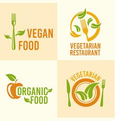vegetarian food set vintage logos vector image