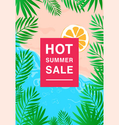 Vertical poster on hot summer sale theme bright vector