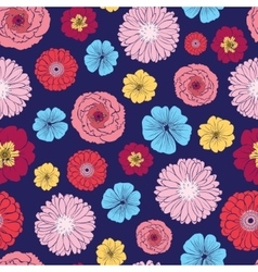 Vibrant Folk Flowers Seamless Pattern vector