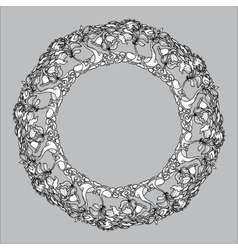 vintage round frame from floral pattern on vector image