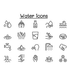 water icons in thin line style vector image