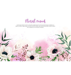 Watercolor anemones blush pink background vector