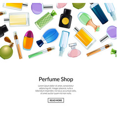web banner perfume bottles background vector image