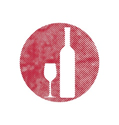 Wine icon with pixel print halftone dots texture vector image