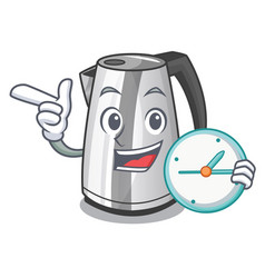with clock plastic electric kettle isolated on vector image