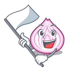 with flag fresh slice onion isolated on mascot vector image