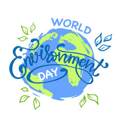 world environment day hand lettering card vector image