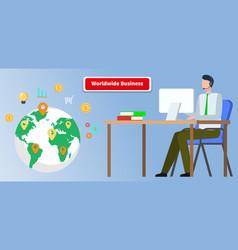 Worldwide business global relationship businessman vector