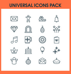 year icons set with postcard bell celebration vector image