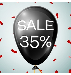 Black baloon with text sale 35 percent discounts vector