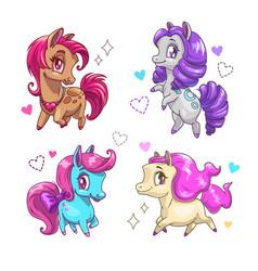 little cute pony set vector image