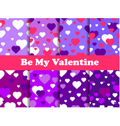 valentines day 14 february seamless pattern set vector image vector image