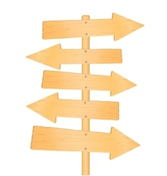 Wooden direction road signs vector image vector image